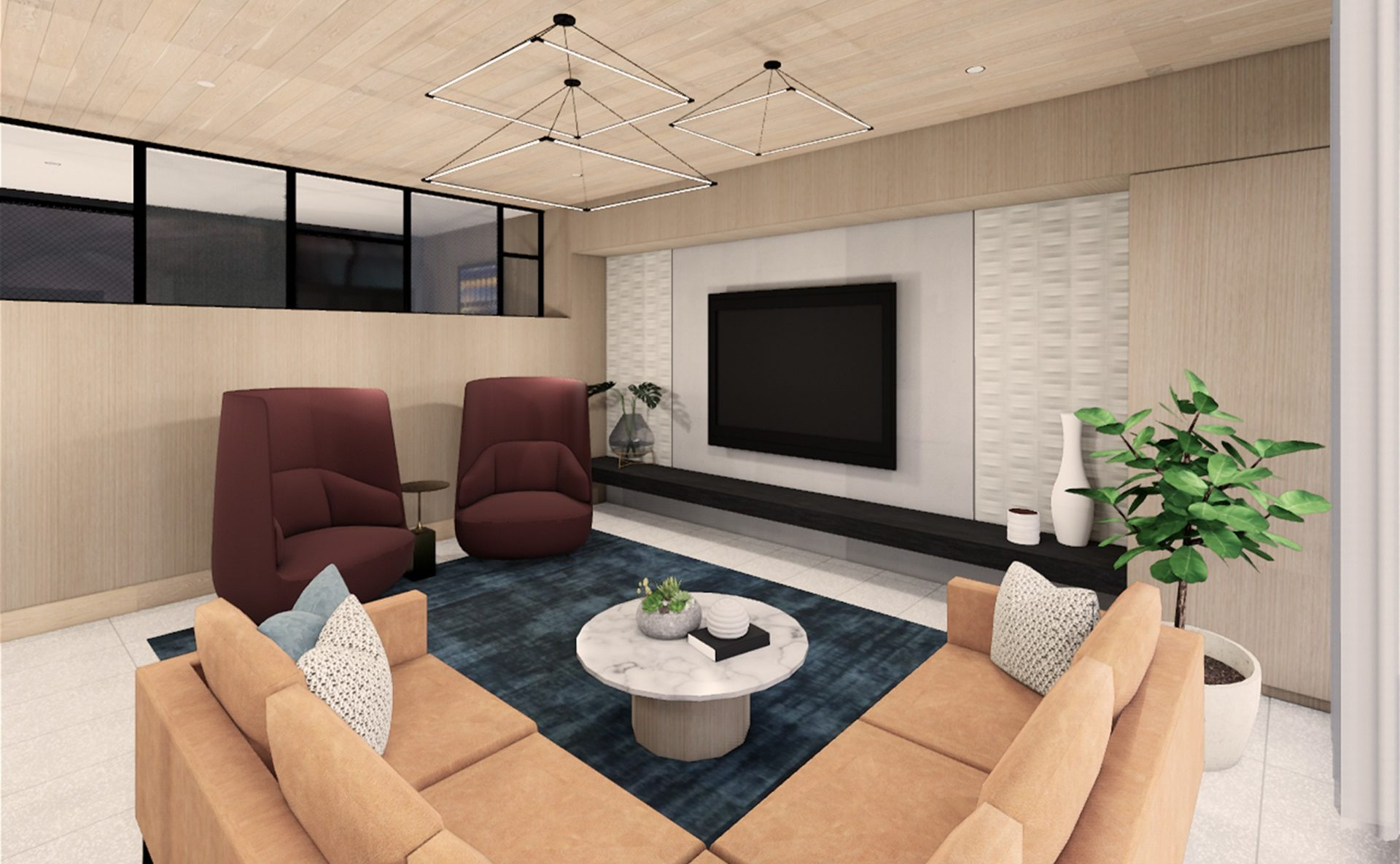 Rendering of the building lounge